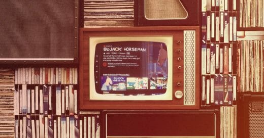 Image of a CRT TV on a shelf with VHS tapes, from a time before a rise in streaming video services increased demand for adult animation.
