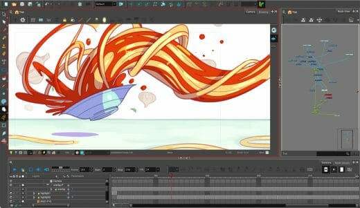 Screenshot of Greg McMahon's contribution to The Ingredients of Animation, featuring a tidal wave of spaghetti flying into a dish.