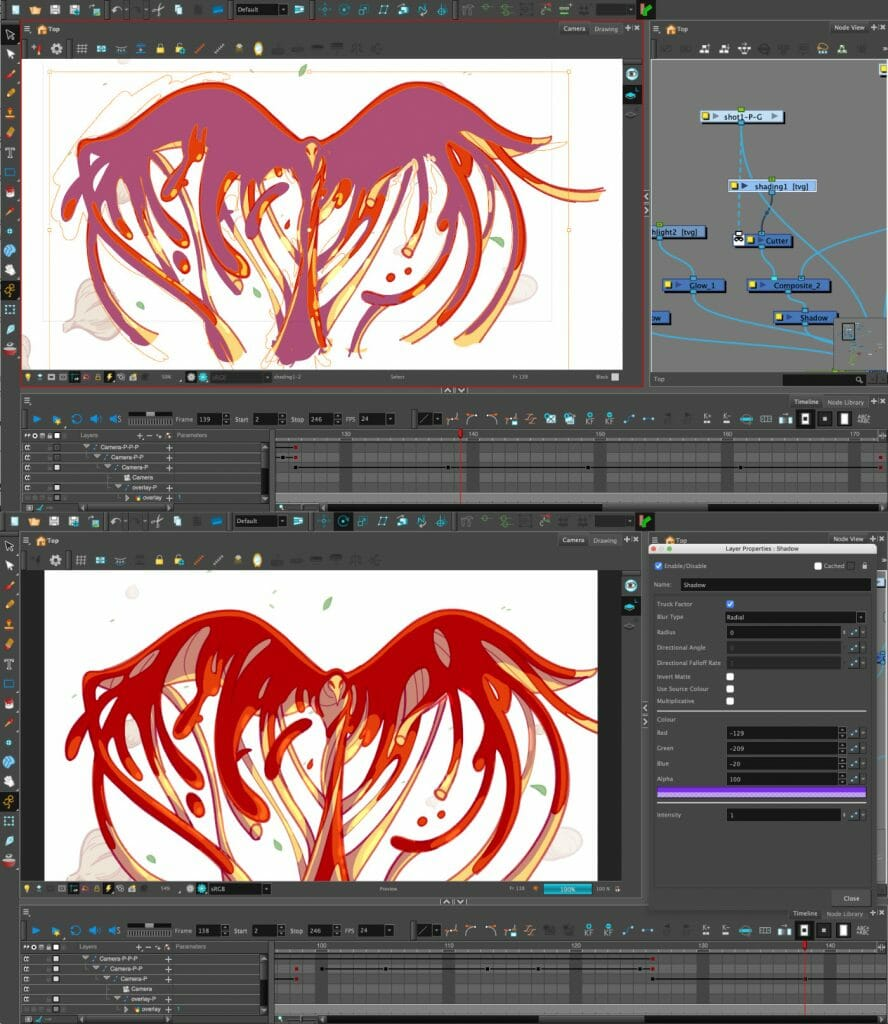 With a little bit of compositing, layers of flat colour can add convincing highlights and shadows.
