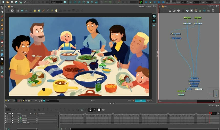 Lieke Wouters's scene for The Ingredients of Animation, featuring a family enjoying Rijsttafel.