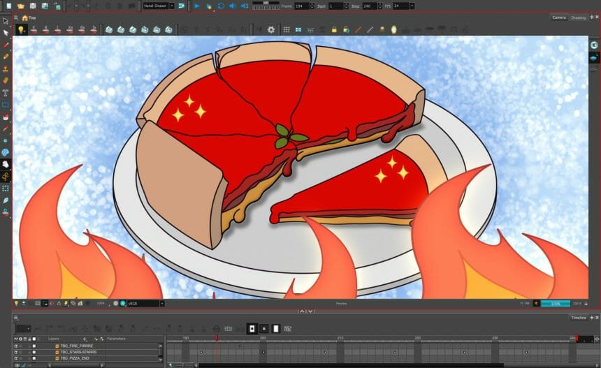 A still image from Aria Dines' scene from The Ingredients of Animation, featuring deep dish Chicago pizza.